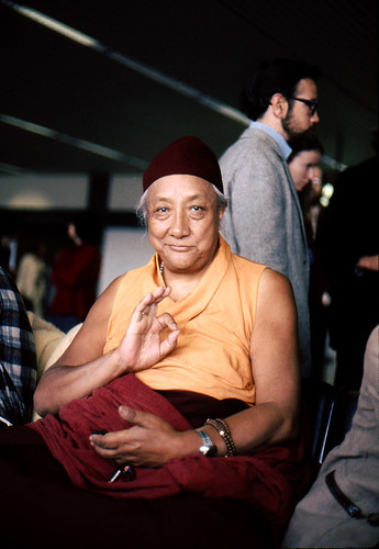HH Dilgo Khyentse Rinpoche displaying the vitarka mudrā, Teaching, Giving Instruction, Reason, Preaching, Transmission of the Dharma mudra, after a visit to the Sakya Dharma Center, 1976, SeaTac Airport,  Seattle, Washington, USA by Wonderlane