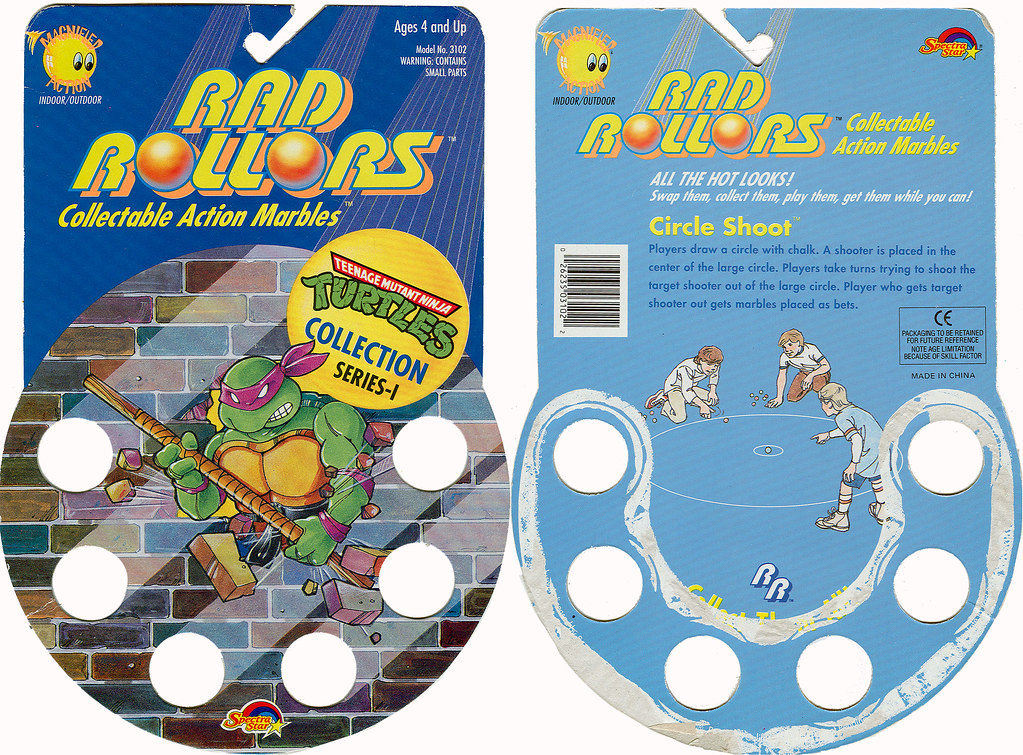 RAD ROLLERS,Collectable Action Marbles :: Teenage Mutant Ninja Turtles COLLECTION Series-1 ..card back ((1991 ))