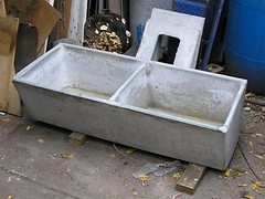A concrete trough