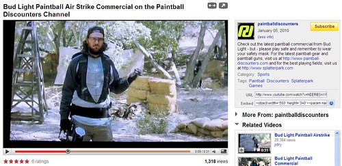 YouTube Screenshot - Bud Light Paintball Airstrike - Paintball Discounters - 011010