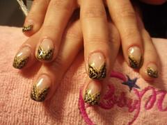 Carmen N. (Paula's nail) Tags: glitter viola nero oro strass argento unghie geluv polverecolorata