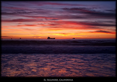El Segundo, California (szeke) Tags: ocean california sunset usa beach clouds landscape boat us losangeles ship unitedstates pacific manhattanbeach elsegundo 2010 oiltanker