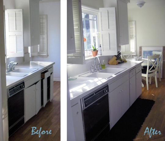 black and white galley kitchen-ba