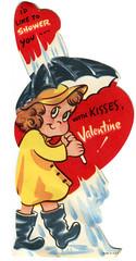 vintage valentine girl raincoat (karen horton) Tags: girl kisses raincoat valentinesvalentinesdayvintagegreetingcardsdesignillustrationhearts