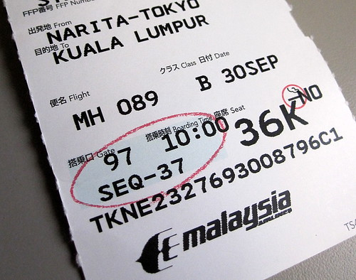 My Ticket for Malaysian Airline Flight MH089