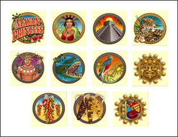free Mayan Princess slot game symbols