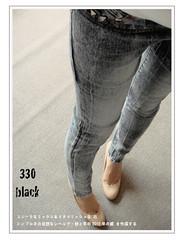330(( PINK-YA )) * A660009 * 韓組 : 釘釦口袋反白刷色彈性窄管單寧褲 black