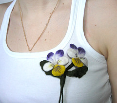 1 (jezek's felting) Tags: nature brooch jewelry needlecraft yellowgreen pansyflower womenfashion weddinds violetwhite springpurple feltfeltedwool romanticforher womenbouquet