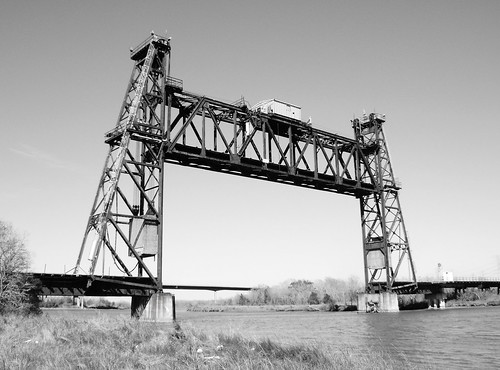 Truss Railroad Lift Bridge over Cedar Bayou, south of Spur 55, Baytown, Texas 0228101449BW