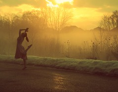 She wants to be a dancer. (Allison Imagining) Tags: street houses me yellow fog clouds hair point spring dress pavement lol background happiness dancer thriftstore queenanneslace portriat sunse finallyitscome tgoldenhour fogxd