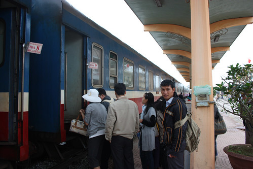 Off the train in Hue