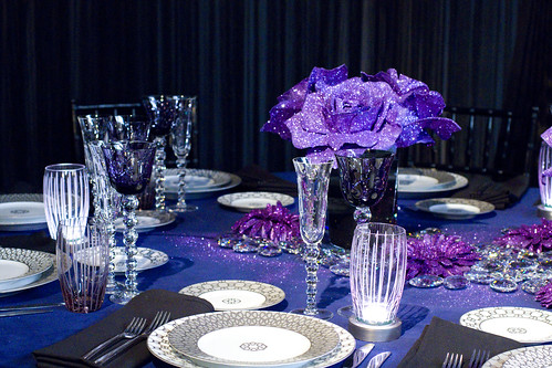 sparkly purple table