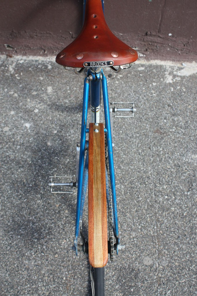 Wooden rear bicycle fender 1 - red/blonde/red