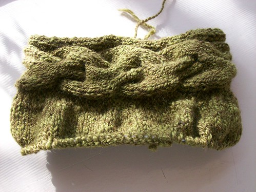 handspun cable band bag