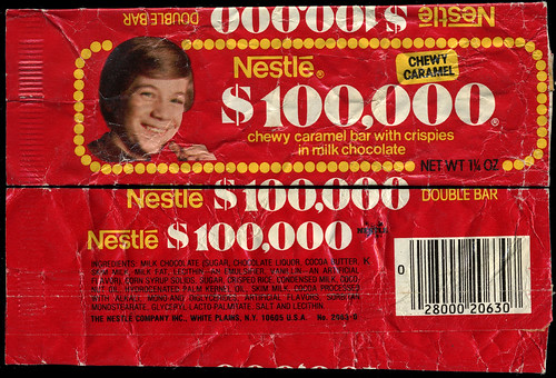 Nestle - 100,000 Dollar 100 Grand - candy bar wrapper - 1970's