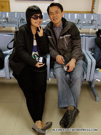 Han Joo and Nic at the airport