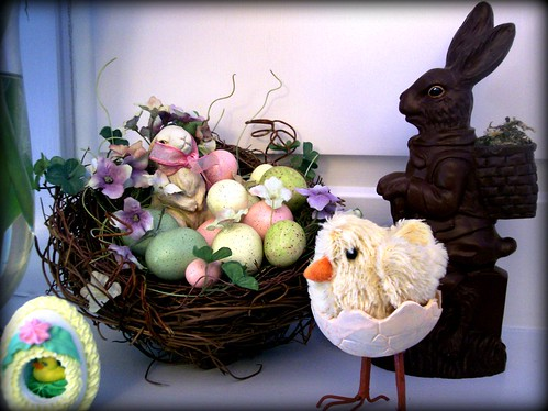 easter nest and chocolate bunny