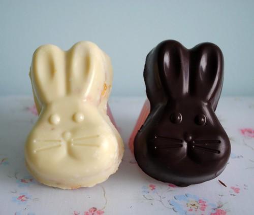 Honeycomb filled chocolate bunnies