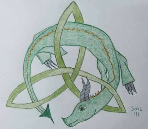 Celtic dragon drawing -  Elfsisters' Art Adventures