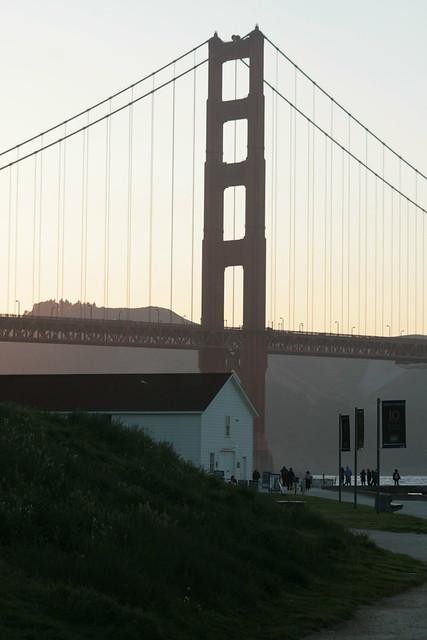 Sunset under Golden Gate Bridge.