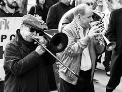 Trad jazz, Fight for Legal Aid, Westminster, London, 7 March 2014 (chrisjohnbeckett) Tags: street blackandwhite bw music london westminster march justice politics rally protest trumpet demonstration instrument trombone law brass injustice cuts cornet tradjazz londonist canonef24105mmf4lisusm legalaid chrisbeckett