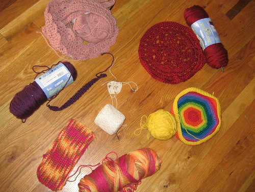 Hmmmm.....half finished crochet projects