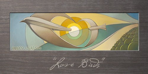 """Love Birds"" (oil on wood, 14""x48"") Prints Available on Shop.JayAlders.com"