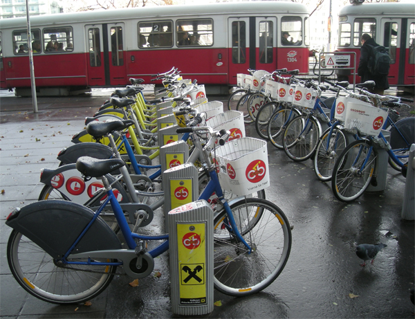 Bikes At Vienna of Vienna by bicycle