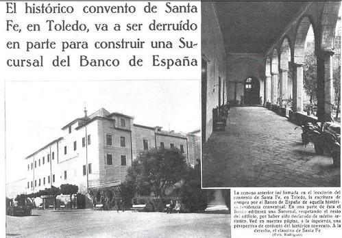 Noticia del inminente derribo del convento de Santa Fe para la nueva sede del Banco de España. Mundo Gráfico, 1935