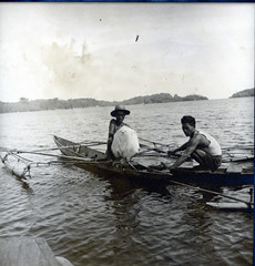 Fishermen in South Loloda Bay with a captured ray