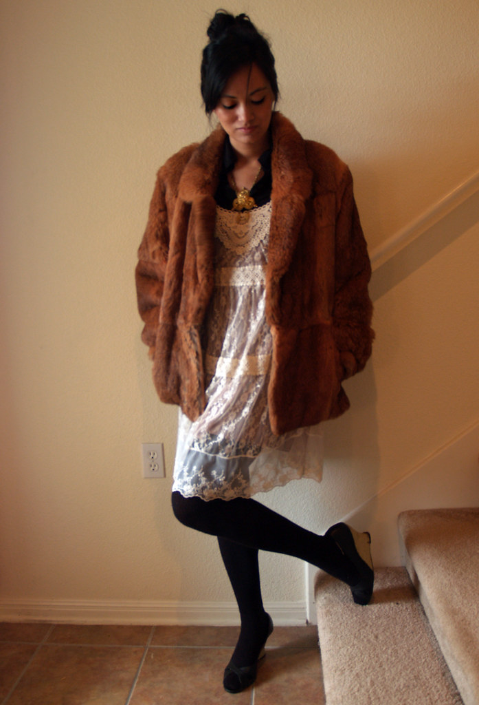 lace dress + fur coat