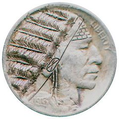 Hobo Nickel Indian Chief  GW BO Hughs