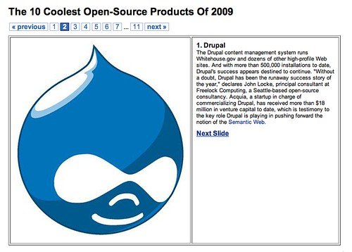 "Drupal, a top 10 ""coolest Open Source Application"""