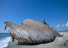 Man on a dhow wreck on the beach, Masirah Island, Oman (Eric Lafforgue) Tags: old blue sea sky beach island boat sand hasselblad shipwreck oman plage dhow dow omn  epave masirah h3d  lafforgue masira om  omo umman omaan echoue     omna omanas umn 4459290
