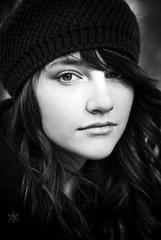 [フリー画像] [人物写真] [女性ポートレイト] [白人女性] [帽子] [モノクロ写真]      [フリー素材]