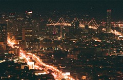 San Francisco (rick) Tags: sanfrancisco street city longexposure bridge slr film home skyline 35mm bay nikon long exposure downtown view market superia balcony f100 nikonf100 1600 deck baybridge fujifilm marketstreet 2010 fujicolor nikkor80200mmf28d fujicolorsuperia sooc fujicolorsuperia1600