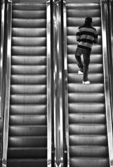 Escalator I (Maron) Tags: man up stairs walking stripes escalator supermarion marionnesje