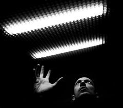 ISS Awakening (Pastor Imagineria) Tags: bw selfportrait loneliness space fear autoretrato bn spaceship soledad miedo angst spacecraft iss locura crazyness