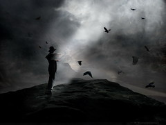Crows Rock (h.koppdelaney) Tags: life light storm art digital photoshop dark flying energy state symbol gothic philosophy off mind take saturn crow metaphor thunder consciousness psyche dreamcatcher symbolism psychology archetype ourtime psychologie