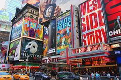 Times Square (Gary Burke.) Tags: street city nyc newyorkcity ny newyork skyline canon buildings advertising eos rebel lights colorful neon manhattan cab taxi broadway landmark icon billboard midtown timessquare gothamist dslr musicals theaterdistrict 5photosaday garyburke klingon65 t1i canoneosrebelt1i