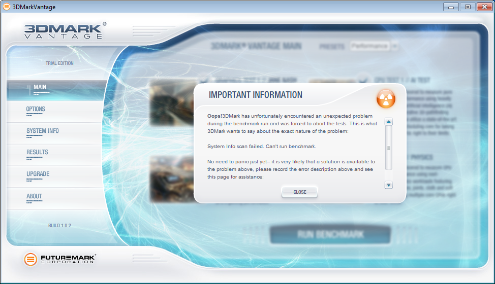 3DMark Vantage will not detect system info - Overclock net - An