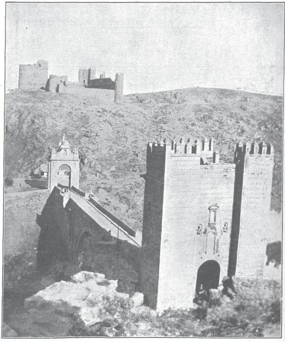 Castillo de San Servando y Puente de Alcántara hacia 1913