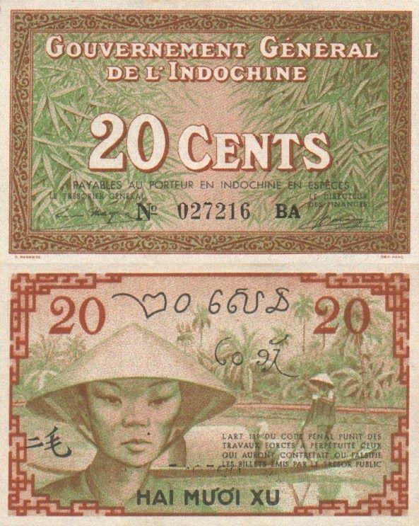 20 Centov Francúzska Indočína 1939