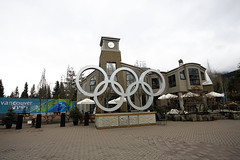 Quiet at the Symbol (.kim.e.) Tags: canada canon whistler town symbol wideangle rings olympics 450d