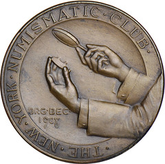 New York Numismatic Club Higgins medal reverse