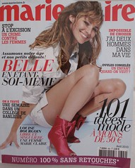 """Marie-Claire, avril 2010, Une, """"Numéro 100% sans retouches"""" (Louise Bourgoin)"""