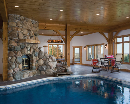 scenic valley view timber frame home pool