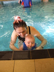 Baby Swimming - Holding on!