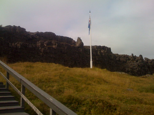 icelandic flag marking the spot of the althing