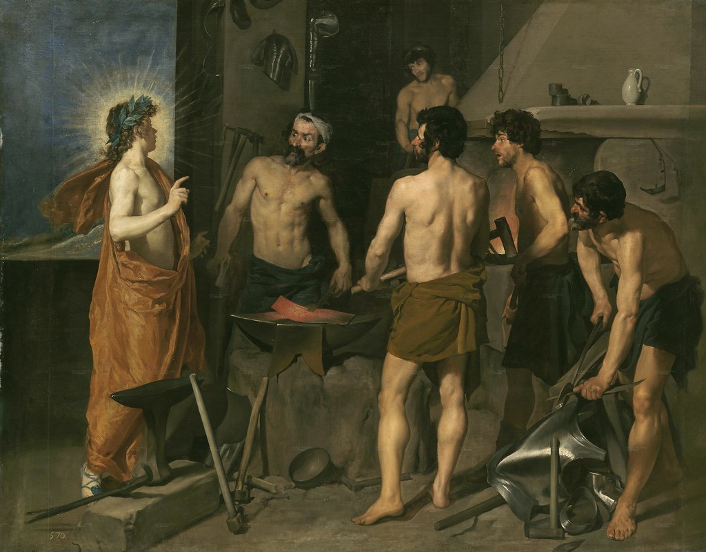 Diego Velázquez (Spanish, 1599-1660) The Forge of Vulcan (1630) Oil on canvas. 230 by 290 cm. Museo Nacional del Prado, Madrid.